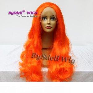 Drag Queen için Yeni Geliş Drag Kraliçe saç Peruk Sentetik Gevşek Dalga Portakal Mermaid Renk Saç Dantel Açık Peruk