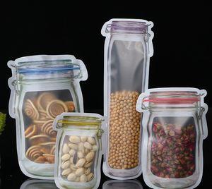 Mason Jar Zipper-Taschen Food Storage Snack Sandwich Wiederverwendbare Airtight Seal Food Storage Taschen Leakproof Food Saver aufstehen Taschen