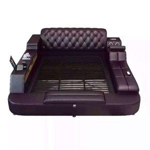 1023TB023 Moderne weiches Bett Tatami-Zimmer-König Königin doppelte Größe multifunktionales Softsuche Massagebett aus echtem Leder Kunst Bett