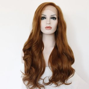 Body Wave Long Lace Front Wig 150% Density Synthetic Hair Wig With Baby Hair Synthetic Fiber Cosplay Part Full Wig Ash Brown