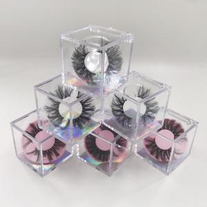 cils Cube boîte cils assez clair d'emballage des plateaux libres cils de vison 3D boîte de papier holographique backgound carton boîte vide