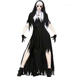 Halloween Designer Cosplay Festival Style Womens Fashion Shorts Sleeve Stand Sleeve Female Dresses Theme Costume Nun