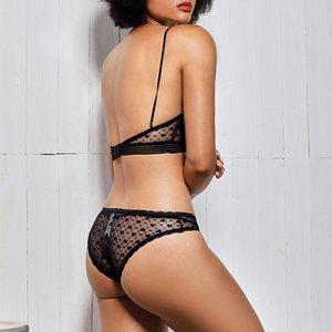 reggiseno sexy Wriufred impostare il tipo di U vestito vacanza Bralette invisibile pizzo ultra-sottile lingerie set confortevole rimless sonno dot reggiseni Y200415