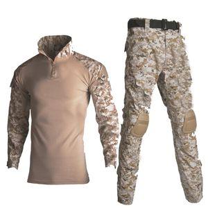 Camisa del uniforme militar + pantalones con la rodilla Cojines de codo al aire libre Airsoft Paintball táctico Ghillie traje de camuflaje de caza sistemas de la ropa de caza