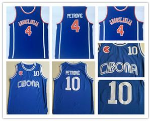 Mens Vintage College # 10 Cibona Drazen 페트로 빅 농구 유니폼 Drazen Petrovic # 4 유고 슬라비아 유고 슬라비아 크로아티아 셔츠 블루