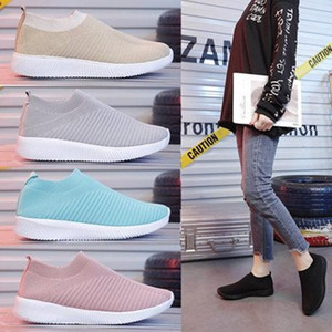 Wholesale woman shoes casual shoes summer sports socks new flying woven woven stretch mesh shoes women breathable one pedal large size 43