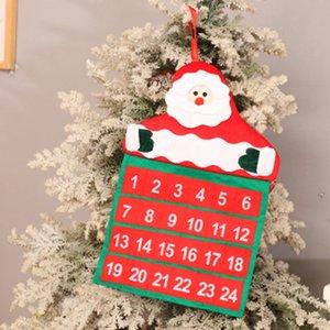 Frohe Weihnachten Weihnachtskalender Dekorationen Weihnachtsmann Advent Countdown Ornament Hanging Banner Anhänger Dekorationen ZZA1557