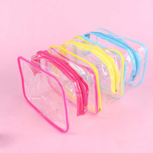 Путешествия ПВХ Косметические сумки Женщины Прозрачный Clear молнии Макияж сумки Органайзер Ванна Wash Make Up Tote сумки чехол