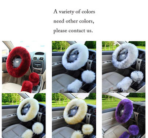 3 unids / set Universal Steering-Wheel-Wheel Three Llusing Wheel Wheel Wheel Wheel Funds Winter Faux Fur Freno Freno Engranaje Cubierta Conjunto Coche Accesorios Interior EEE112