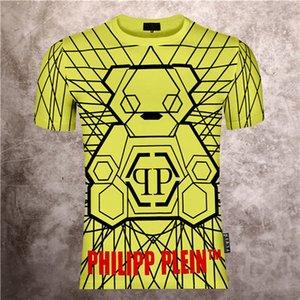 2020 nuova t-shirt macchina moda estiva moda manica stampata Phillip pianura intorno al collo corto maschile orso personalità tee Top Uomo