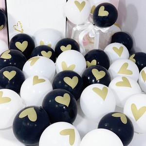500pcs / Lot 10inch Золото Сердце Печатные латексные шары прозрачные Globos свадебные украшения Валентина Baby Shower Поставки