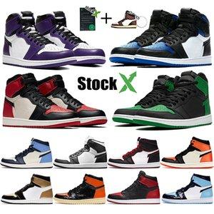 Новый обратный разводили королевский носок Jumpman 1 1s высокие мужские ботинки баскетбола сосна зеленый черный Top 3 разрушенной спинодержатель черный носок обуви стилиста