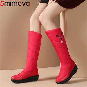 Smirnova large size 35-44 knee high boots women down+cow leather boots flat platform winter botos keep warm ladies snow