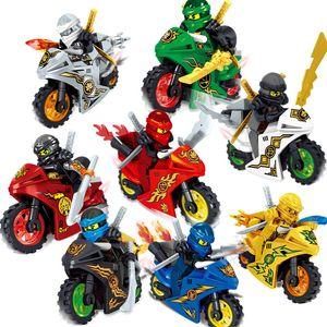 8pcs Lot Phantom Ninja Tornado moto Chariot véhicule Kai Cole Garmadon Ninja Mini Toy Figure des blocs de construction de briques avec des épées Moto