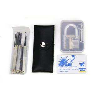 7 Pin pratique transparente + Padlock 12pcs / set Médiator verrouillage Outils Serrurier + carte de crédit de verrouillage Choix Set