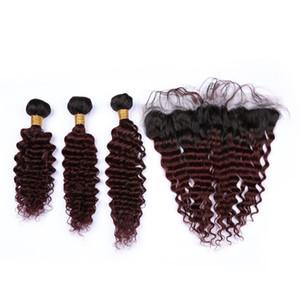 Onda profunda # 1B / 99J Vino rojo Ombre Brasileño Virginal del cabello humano 3Bundles con frontal Borgoña OMbre 13x4 Cierre frontal de encaje con tejidos