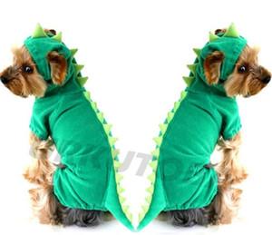 لطيف الحيوانات الأليفة الكلب شتاء دافئ الأخضر الديناصور الملابس المخملية سترة الكرتون يتوهم أزياء جديدة