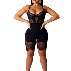 Women Mesh Lace Yoga Jumpsuits Sexy Strappy Strapless Bodycon Playsuits Ladies Yoga Set Sleeveless High Waist Jumpsuits