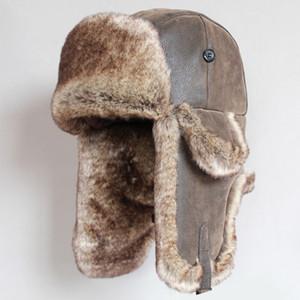 Cappelli Bomber invernale Vintage russo Ushanka Caps Uomini Faux Fur Trapper Hat cuoio delle donne dell'unità antivento Earflap Trooper Cappelli T191022