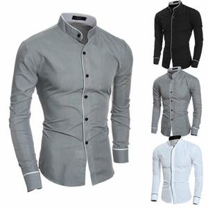 2019 camicia a maniche lunghe di lusso nuovi uomini di modo Smart Casual Slim vestito alla moda adatte Camicie Tops Vendita CALDA