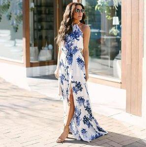 Sundress Artı boyutu Halter Çiçek Baskılı 3D Yaz Kadın Elbise Yüksek Bel Kolsuz Maxi Elbiseler Womens Dökülen