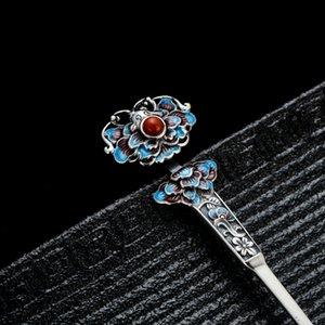 Accesorios para el cabello 925 pelo palillo de esmalte cloisonné joyería de lujo Blue Beads horquillas de flores hechos a mano del