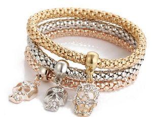 comercio exterior nuevo cristal de Europa y América del cráneo, palomitas colgante de diamantes, tres colores, un conjunto de pulsera elástica de entrega L751 gratuito