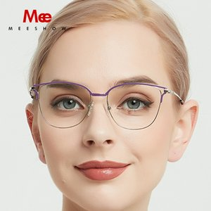 Meeshow titanium alloy glasses frame women cat eyes prescription eyeglasses optical myopia sun glasses ulatrligh spectacle frame SH190919