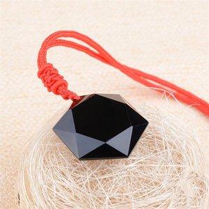 100% натуральный Obsidian Six-Манг звезды Подвеска ювелирных изящных ювелирных изделий Багуа Star Energy Stone кристалл пара ожерелье