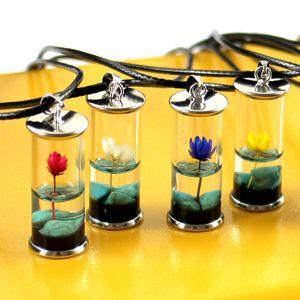 Femmes Pendentif Collier Bouteille en verre transparent à la main de fleurs séchées Lotus permanent Conservation Bijoux Turquoise Collier cire corde