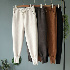 Pantaloni Harem da donna con tasche Pantaloni sportivi da donna a vita alta in pelle scamosciata tascabile Pantaloni primavera casual da uomo