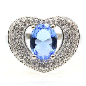 18x14mm Abbastanza SheCrown Creato gioielli di Violet Tanzanite CZ Donna che fa Anelli d'argento