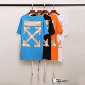 2020 Lettre flèche imprimer T-shirt Homme Femme Mode Vert Summer Street Casual T-shirt Designer de rayures graffiti jet d'encre T-shirt blanc 0PGL