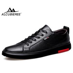 Adam Düz Sneakers Rahat ayakkabı ALCUBIEREE Gerçek Deri Ayakkabı Man Yüksek Kaliteli Kaykay Ayakkabı