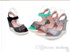 European 2017 Summer Ankle Strap Sandals Elegant Wedge High Heels Rome Dating Shoes Women Gilitter Sweet Plus Size Eur 35-42