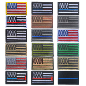 High Quality Emblem The USA American Flag Epaulette Badges for Clothes Embroidery Patch Army Flags Armband Paste