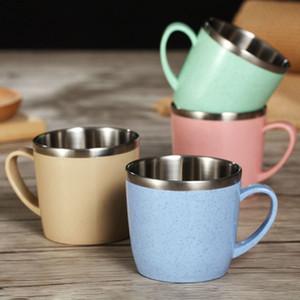 304 edelstahl kaffeetasse das weizenelement bunte umweltfreundliche haushaltschale kinder trinken wasser tassen 220 ml wx9-1208