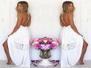 Halter Lace Patchwork Dresses Summer Women Clothes Womens Designer Long Dress White Backless Wrapped Chest Waistband