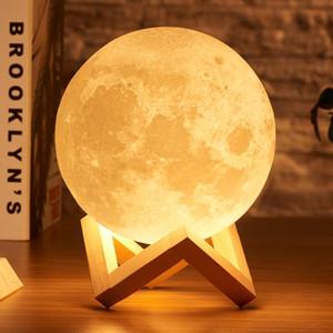 15cm 20cm Lampe Lune 3D Imprimer Veilleuse rechargeable 3 couleurs TACTILE lampe 16 lumières Couleurs Changement Moon Light LED cadeau à distance