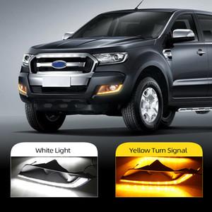 1 insieme per Ford Ranger 2015 2016 2017 2018 dell'automobile LED Daytime Running Lights DRL della nebbia della lampada Con Giallo segnale di girata