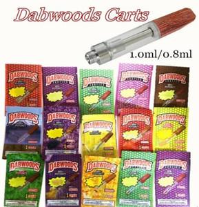 DABWOODS Vape Patronen aus Holz Drip Tips DabWoods Carts 1 ml 0,8 ml Keramik Coil Vape Cartridges Verpackung Beutel 510 Vaporizer 13 Arten Taschen