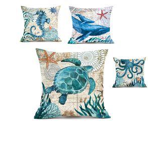 Funda de cojín Marine Animal Horse Octopus Whale Print Square Set Siesta Pillowcase Car Decoration Box Home Decoration Supplies