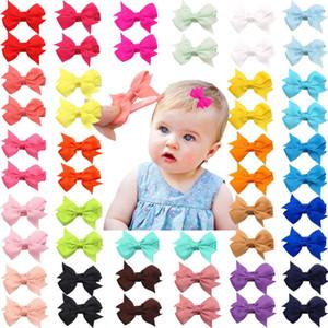 """50 Pezzi 25 colori a coppie neonate completamente allineato perni di capelli molto piccoli 2"""" clip archi dei capelli coccodrillo per le bambine neonati Toddler"""