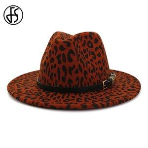 FS Bahar Yün Leopar Fedora Hat İçin Deri Kemer Panama Trilby Üst Şapka Chapeau feutre ile Erkekler Kadınlar Şarap Kırmızısı Bowler Cap