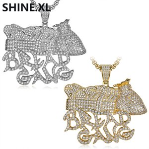 Hip Hop Iced Out All Lab Diamante Plateado BREAD GANG Monedero Corona Colgante Collar Hombres Bling Regalo de la joyería