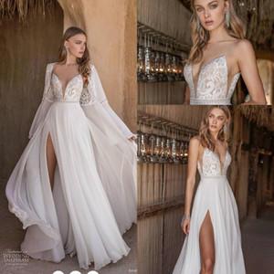 Asaf Dadush 2020 Flowy Skirt Wedding Dresses with Long Sleeve Jacket Wrap Lace Chiffon Holiday Bride Beach Boho Wedding Gown