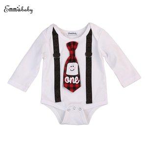 Новорожденных Девочки Мальчики Xmas Romper Младенец Дети Suspender Bow Tie Пояс Ромперы хлопок с длинным рукавом Одежда Рождество