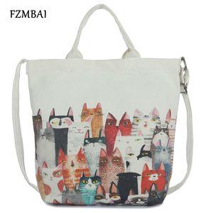 Shopping Bag Tempo libero FZMBAI grande capienza Cat Stampa Canvas Handbag delle donne