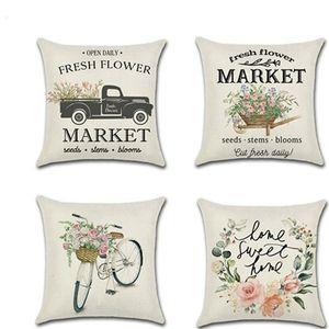Fundas de almohada de lino de primavera, bicicleta de coche, flor fresca, serie de agricultores, funda de almohada de impresión, funda de cojín, sofá, bar, cafetería, decoración del hogar