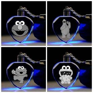 COSANER Sesame Street Herzform Anime LED Schlüsselanhänger Schlüsselanhänger Kristall Schlüsselanhänger Light Schlüsselanhänger Unisex Geschenke NEW